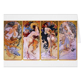 Quatre saisons par Alphonse Mucha Carte De Vœux