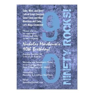 Quatre-vingt-dix roches ! quatre-vingt-dixième carton d'invitation  12,7 cm x 17,78 cm