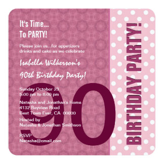 quatre-vingt-dixième Anniversaire pour son motif Carton D'invitation 13,33 Cm