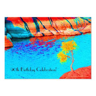 quatre-vingt-dixième Arbre de jaune de célébration Carton D'invitation 12,7 Cm X 17,78 Cm