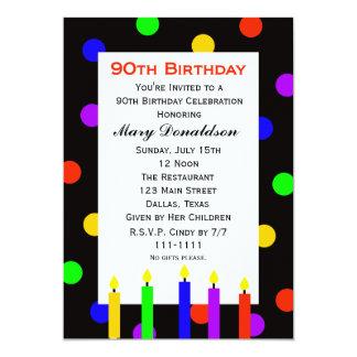 quatre-vingt-dixième Bougies et points Carton D'invitation 12,7 Cm X 17,78 Cm