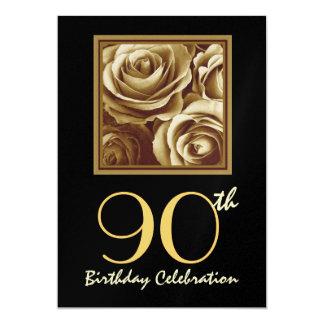 quatre-vingt-dixième Bouquet rose d'or Carton D'invitation 12,7 Cm X 17,78 Cm