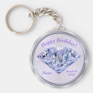 quatre-vingt-dixième Cadeaux d'anniversaire Porte-clé Rond