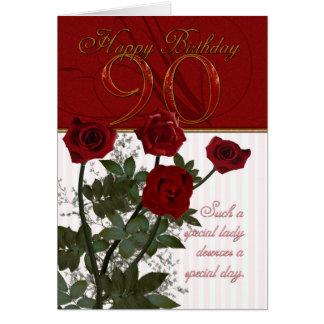 quatre-vingt-dixième Carte d'anniversaire avec des
