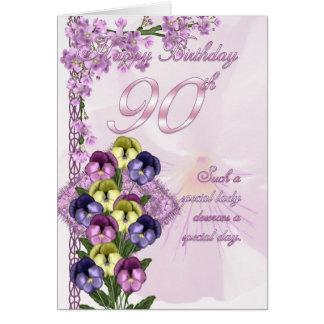 quatre-vingt-dixième Carte d'anniversaire pour