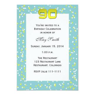 quatre-vingt-dixième Confettis d'invitation Carton D'invitation 12,7 Cm X 17,78 Cm