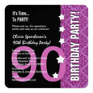 quatre-vingt-dixième D90B6 drôle magenta et noir Carton D'invitation 13,33 Cm