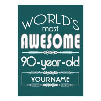 quatre-vingt-dixième D anniversaire des mondes Faire-parts