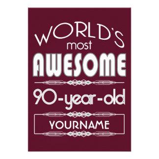 quatre-vingt-dixième D'anniversaire des mondes Invitation