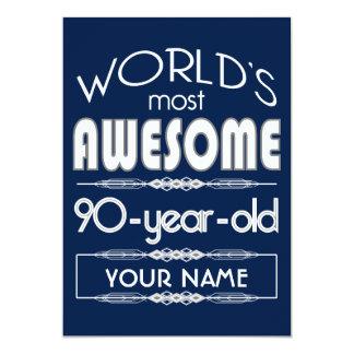 quatre-vingt-dixième D'anniversaire des mondes Carton D'invitation