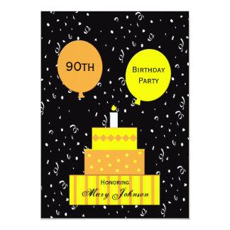 quatre-vingt-dixième Gâteau d'amusement Carton D'invitation 12,7 Cm X 17,78 Cm