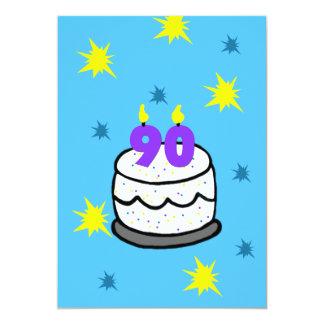 quatre-vingt-dixième Gâteau d'invitation de fête Carton D'invitation 12,7 Cm X 17,78 Cm