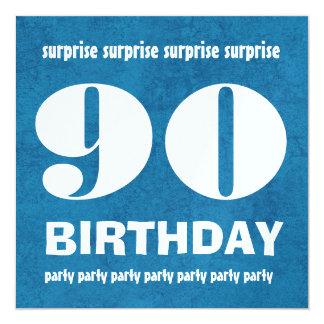 quatre-vingt-dixième Grunge de fête d'anniversaire Carton D'invitation 13,33 Cm