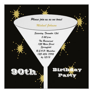 quatre-vingt-dixième Invitation de fête d'annivers