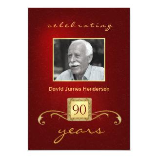 quatre-vingt-dixième Invitations d'anniversaire - Carton D'invitation 12,7 Cm X 17,78 Cm