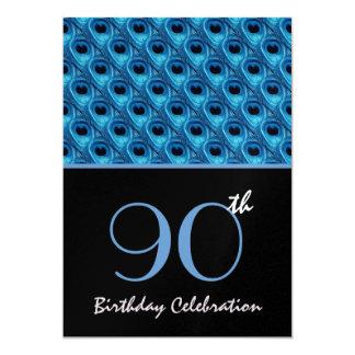 quatre-vingt-dixième Le paon bleu d'anniversaire Carton D'invitation 12,7 Cm X 17,78 Cm