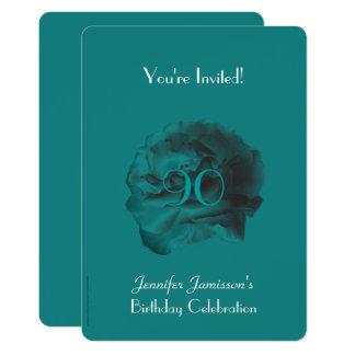 quatre-vingt-dixième L'invitation Teal de fête Carton D'invitation 12,7 Cm X 17,78 Cm