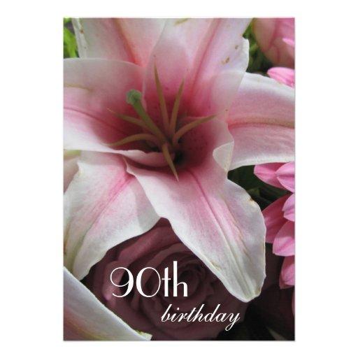 quatre-vingt-dixième Lis Célébration-Rose d'annive Faire-parts