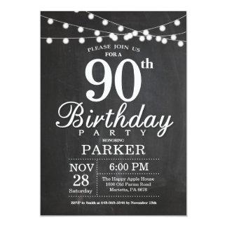 quatre-vingt-dixième Lumières de ficelle de Carton D'invitation 12,7 Cm X 17,78 Cm