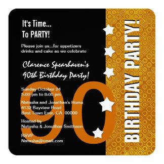 quatre-vingt-dixième Or d'anniversaire et D90B7 Carton D'invitation 13,33 Cm