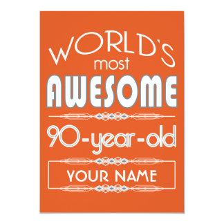 quatre-vingt-dixième Orange fabuleuse de flamme Carton D'invitation 12,7 Cm X 17,78 Cm