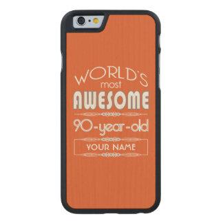 quatre-vingt-dixième Orange fabuleuse de flamme Coque Carved® iPhone 6 En Érable
