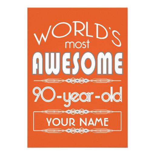 quatre-vingt-dixième Orange fabuleuse de flamme Cartons D'invitation