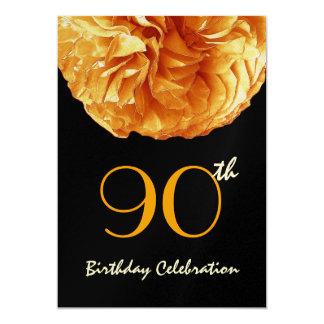 quatre-vingt-dixième Rose froncé d'OR de fête Carton D'invitation 12,7 Cm X 17,78 Cm