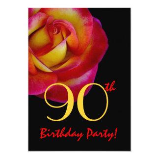 quatre-vingt-dixième Rose rouge et jaune de modèle Carton D'invitation 12,7 Cm X 17,78 Cm