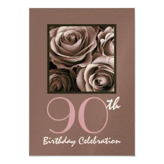 quatre-vingt-dixième Roses de CHOCOLAT Carton D'invitation 12,7 Cm X 17,78 Cm
