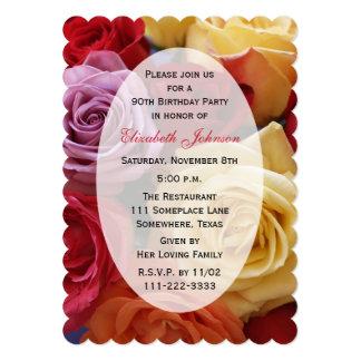 quatre-vingt-dixième Roses d'invitation de fête Carton D'invitation 12,7 Cm X 17,78 Cm