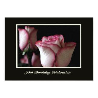 quatre-vingt-dixième Roses magnifiques Carton D'invitation 12,7 Cm X 17,78 Cm