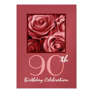 quatre-vingt-dixième Roses rouges d'invitation de Carton D'invitation 12,7 Cm X 17,78 Cm