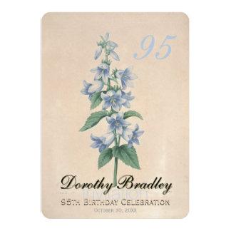 Quatre-vingt-quinzième coutume florale vintage de carton d'invitation  12,7 cm x 17,78 cm
