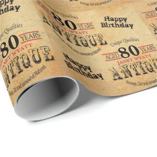 Quatre-vingtième anniversaire grunge antique de papiers cadeaux noël