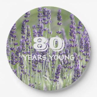 quatre-vingtième Lavande d'anniversaire florale Assiettes En Papier