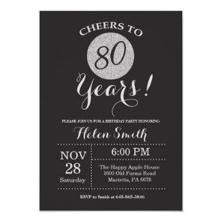 quatre-vingtième Noir d'invitation d'anniversaire Carton D'invitation 12,7 Cm X 17,78 Cm