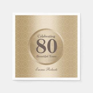 quatre-vingtième Or de monogramme de fête Serviettes Jetables