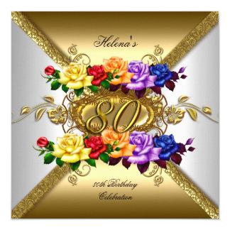 quatre-vingtième Roses multi d'or de couleur de Carton D'invitation 13,33 Cm