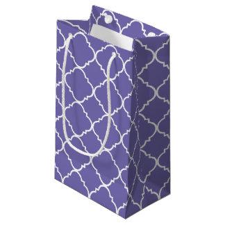 Quatrefoil lilas et blanc petit sac cadeau