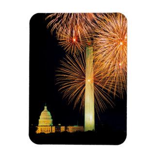 Quatrième de juillet, affichage de feu d'artifice, magnets en rectangle