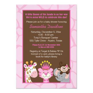 "Queen of the Jungle & Friends Baby Shower Invite 4.5"" X 6.25"" Invitation Card"