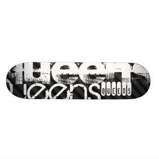 Queens ; Rayures noires et gris-foncé Skateboards Personnalisables