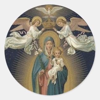 Queenship Vierge Marie du 22 août Sticker Rond