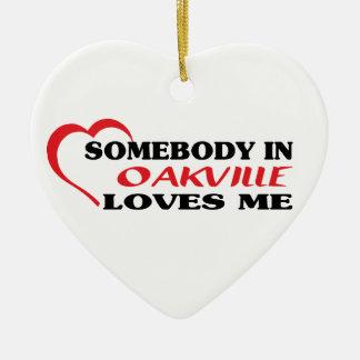 Quelqu'un à Oakville m'aime Ornement Cœur En Céramique