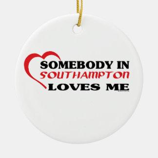 Quelqu'un à Southampton m'aime Ornement Rond En Céramique