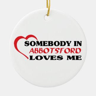 Quelqu'un dans Abbotsford m'aime Ornement Rond En Céramique