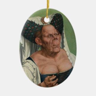 Quentin Massys - dame âgée grotesque, 1515 Ornement Ovale En Céramique