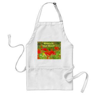 Qu'est en votre four ? fleurs rouges de pavot de t tablier