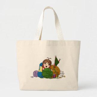 Qui aime tricoter ? sac fourre-tout